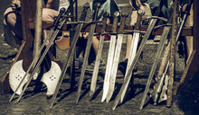 Swords Set Up In A Row For The Knight Demonstration At A Medieval Market