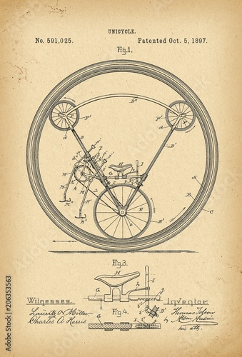 Valokuvatapetti 1897 Patent Velocipede Bicycle Unicycle history invention