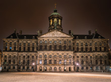 Amsterdam May 18 2018 -The Old City Hall And Now The Royal Palace. Build By Napoleon In The 1800s By Night