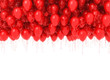 Leinwandbild Motiv Background of flying red balloons isolated on white background