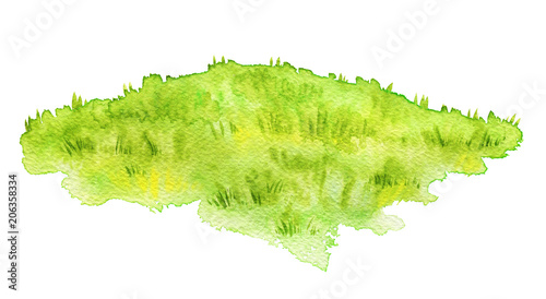 Foto op Canvas Lime groen Green lawn isolated on white background. Watercolor hand painted illustration