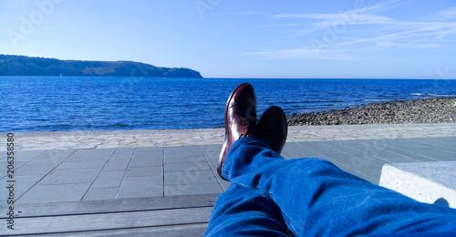 Fototapeta Spring glare on brown shoes. obraz na płótnie
