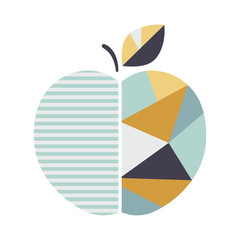 Panel Szklany Skandynawski Modern Geometric Apple illustration. Modern Fruit poster. Good for print.