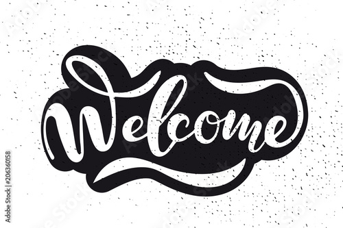Fotografering  Hand sketched Welcome lettering typography