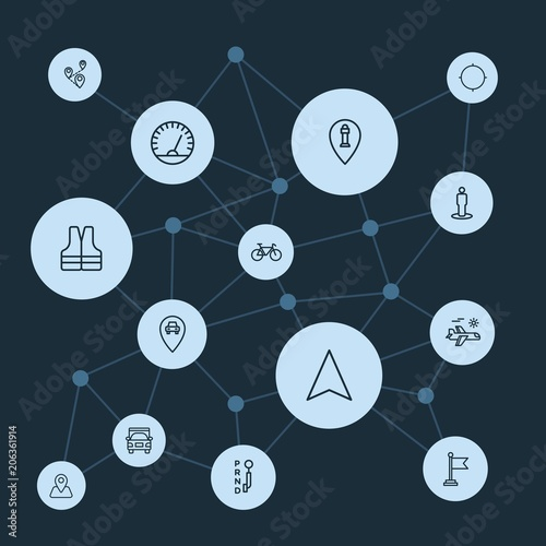 Abstract background with polygonal connected lines and transports, location, travel outline icons. Can be use for websites, mobile apps, presentations and other design works Wall mural