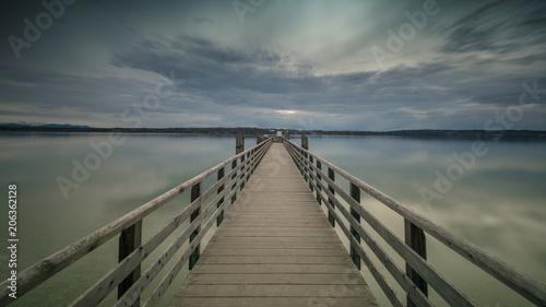 Foto op Plexiglas Panoramafoto s Steg am See