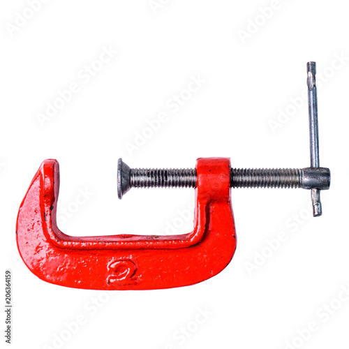 Clamp compression tool isolated on white. Work clamp or Professi