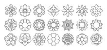 Flower Line Icon Set. Vector Collection. Different Thin Simple Outline