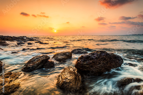 Spoed Foto op Canvas Zee zonsondergang Wave sound , golden hours ,sea waves