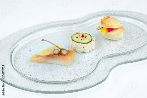 Foto op Aluminium Buffet, Bar Canape with Tartar on buffet glass dish.