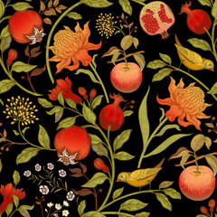 Panel Szklany Do kuchni Seamless vector floral pattern with exotic flowers and fruits.