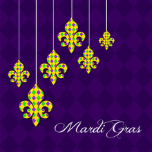 Mardi Gras Carnival Set Icons, Design Element , Flat Style. Collection Mardi Gras, Mask With Feathers, Beads, Fleur De Lis, Comedy And Tragedy, Party Decorations. Illustration, Clip Art
