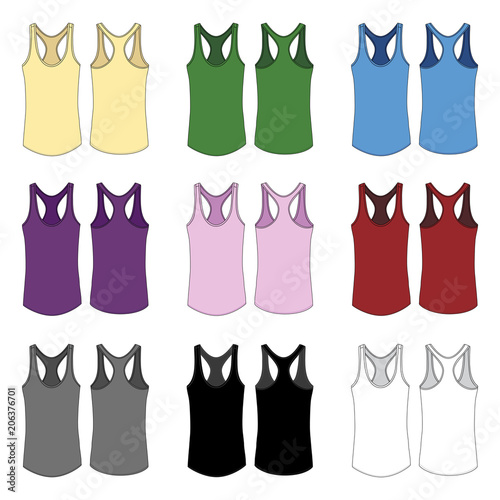 Vector Template For Women S Racerback Style Tank Tops Acheter Ce