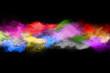 canvas print picture - Multicolor powder explosion on black background.