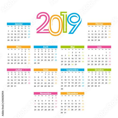Calendrier Francais 2019.Fototapeta Calendrier 2019 Francais Avec Jours Feries