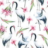 Semless wzór bociany i różowe kwiaty na białym tle - 206384362