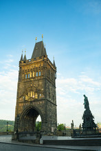 Bronze Statue, Monument Of Emperor Charles IV On The Old Town Bridge Tower