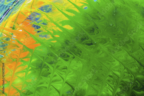 High angle view of green marbling painting