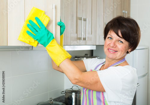 senior woman cleaning