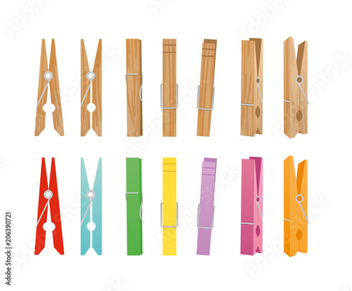Fotografía  Vector illustration of wooden and clothespin collection on white background