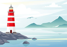 Vector Illustration Of Blue Sea Background With Waves And Mountains. Lighthouse On The Rocks, Sea Landscape With Blue Sky, Fog.