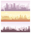 Vector illustration set of industrial backgrounds, banners. Collection of manufacture landscapes with pollution, factory silhouettes in pastel colors, flat style.