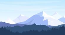 Vector Illustration Of Beautiful Mountains With Forest Silhouette Background In Pastel Colors. Travel, Tourism, Hiking Concept In Flat Style.