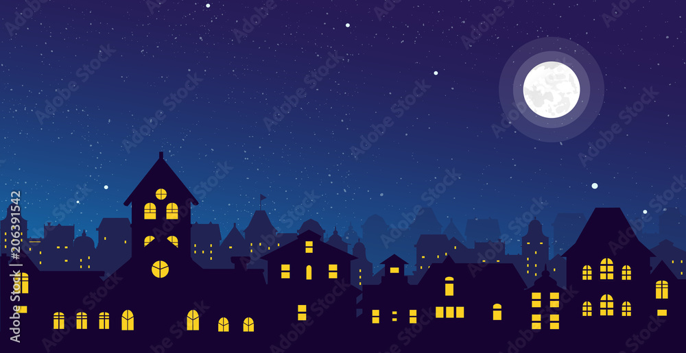 Fototapeta Vector illustration of the night town skyline with a full moon over urban houses rooftops in flat style.