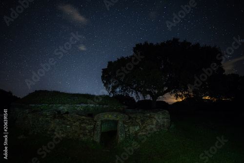 Spoed Foto op Canvas Nacht Night landscape with old structure near Montehermoso. Extremadura. Spain.