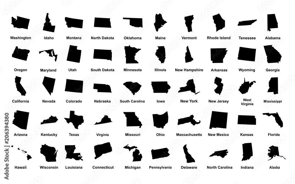Fototapety, obrazy: United States of America. 50 States. Vector illustration