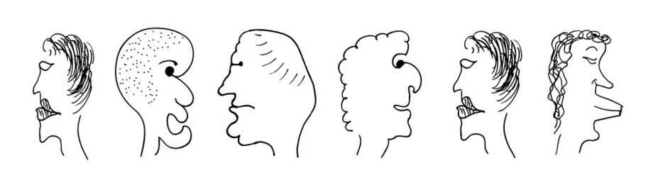 caricature; faces; art; people; cartoon; sketch; funny; illustration; set; portrait; man; head; doodles; white; isolated; grotesque; person; smile; emotion; emoticon; old; laughing; drawing; cheerful;