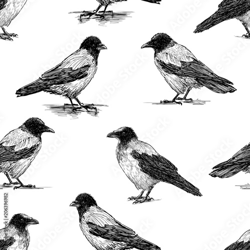 Cotton fabric Seamless pattern of the crows sketches
