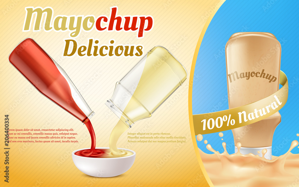 Photo  Vector promotion banner of mayochup sauce