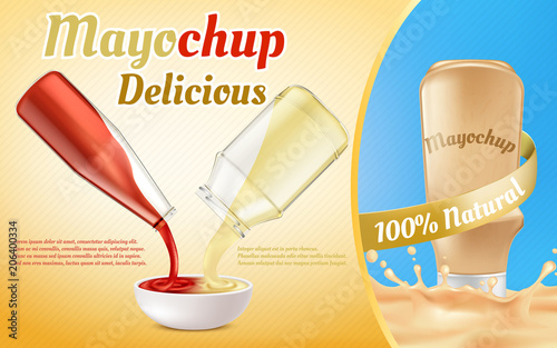 Vector promotion banner of mayochup sauce Canvas Print