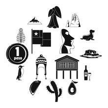 Cjile Travel Icons Set. Simple...