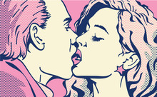 Pop Art Kiss. Kissing Couple. Man And Woman. Valentines Day Love.