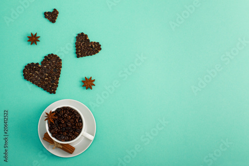 Cup of coffee seeds cinnamon anis coffee hearts Tablou Canvas