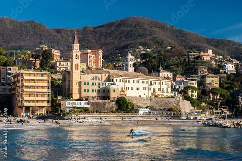 View of Recco, small town near Genoa, and its coastline
