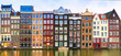 canvas print picture - Amsterdam, The Netherlands, May 4th 2017:  Row of authentic canal houses on the Rokin in Amsterdam