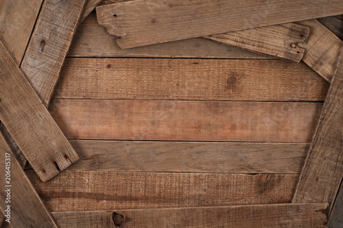 Valokuva  Rustic Wood Boards Background with planks on side edges and room or space for copy, text, your words or design in the center