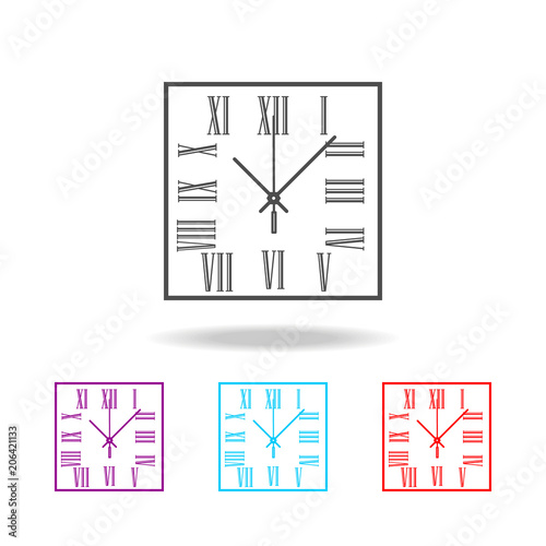Plagát  Square wall clock with Roman numerals line icon