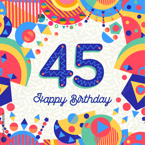 Photo  45 forty five year birthday party greeting card