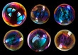 canvas print picture - soap bubbles isolated on black background