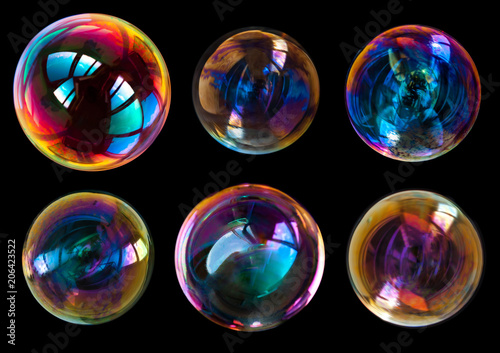 Fotografía  soap bubbles isolated on black background
