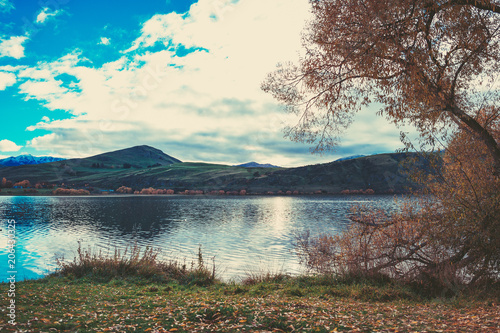 Spoed Foto op Canvas Chocoladebruin Autumn in Lake Hayes, Queenstown New Zealand landscape