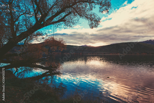Spoed Foto op Canvas Grijze traf. Autumn in Lake Hayes, Queenstown New Zealand landscape