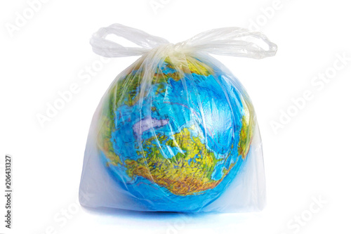 Fotografía  globe in polyethylene plastic disposable bag