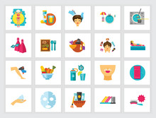 Beauty And Health Concept. Flat Icon Set. Cosmetology, Dieting, Spa Center. Can Be Used For Topics Like Vacation, Healthy Eating, Service, Beauty Salon