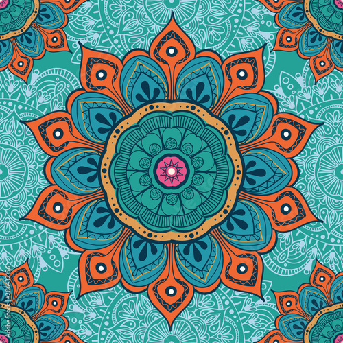 Fotografia Flower mandala colorful background for cards, prints, textile and coloring books