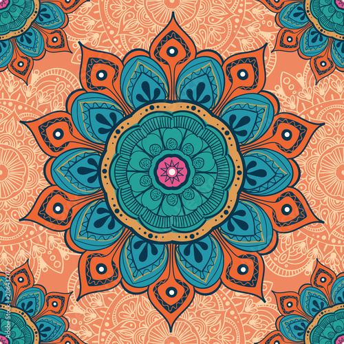 Flower mandala colorful background for cards, prints, textile and coloring books Poster